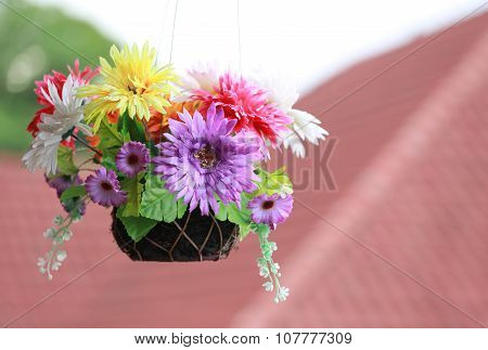 Artificial Colorful Flowers In Pot.