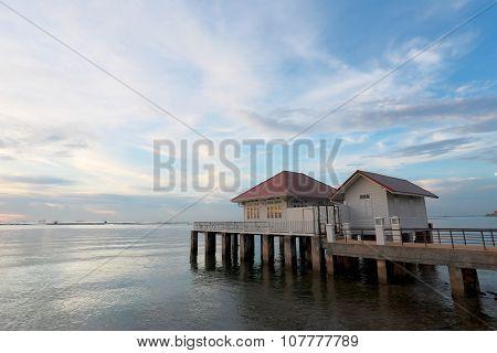 Seaside Resort In The Evening.