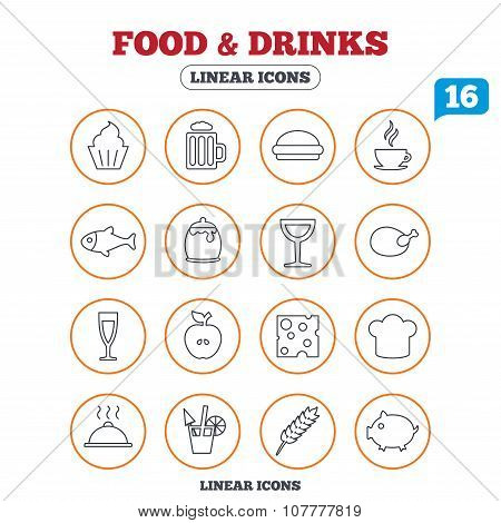 Food and Drinks icon. Beer, coffee and cocktail.
