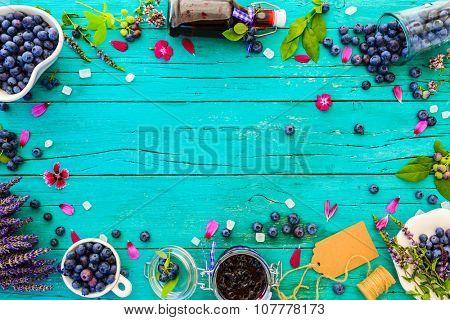 Blueberries - fresh blueberries fruit and homemade jam, frame