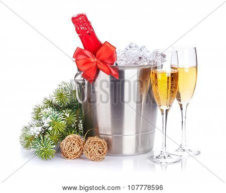 Christmas champagne and snow fir tree. Isolated on white background