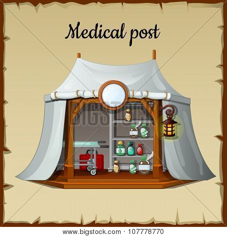 Tent medical facility on a beige background