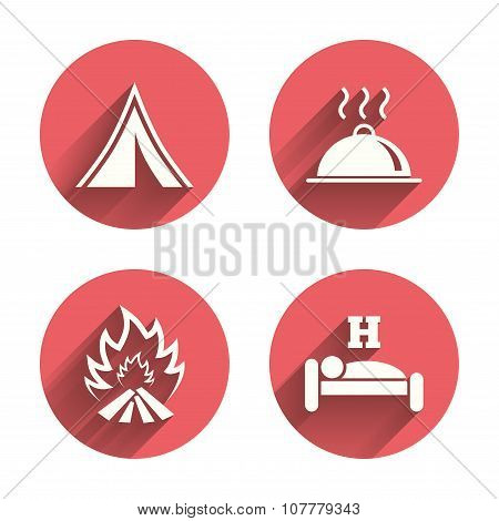 Hot food, sleep, camping tent and fire signs.