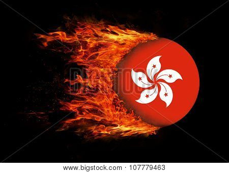 Flag With A Trail Of Fire - Hong Kong