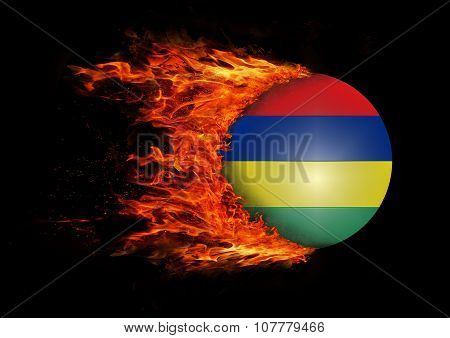 Flag With A Trail Of Fire - Mauritius