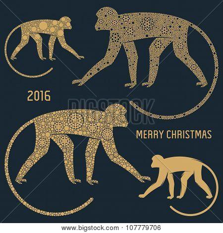 Christmas emblem monkey