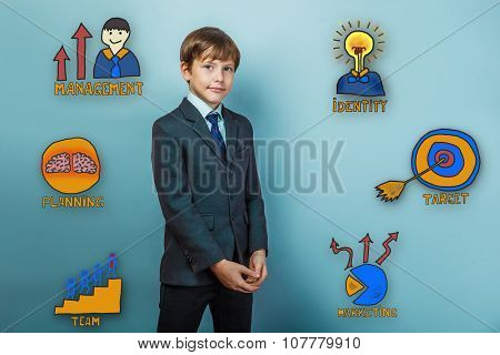 businessman smiling teenager boy folded his collection of busine
