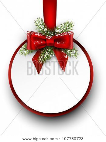 Christmas card with fir branch and bow. Vector illustration.