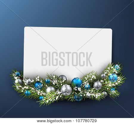 Christmas blue card with fir branch. Vector illustration.