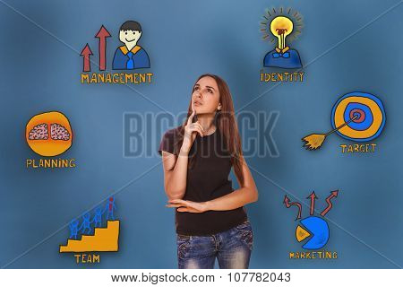 girl in shirt and jeans looking up thoughtfully collection of bu