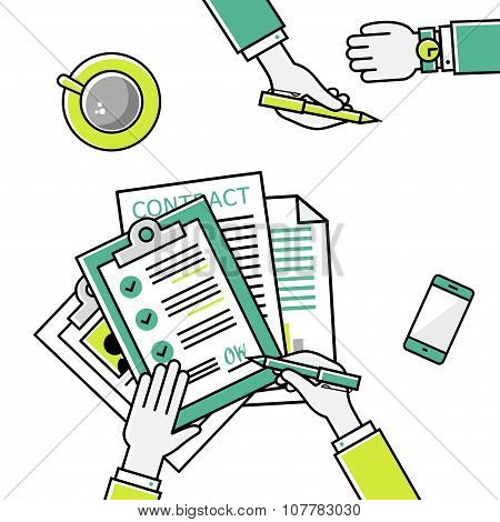 Business man hands holding contract, signing of a treaty business contract flat design vector linear