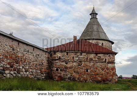 Ancient Stone Wall And Tower Of Solovetsky Monastery