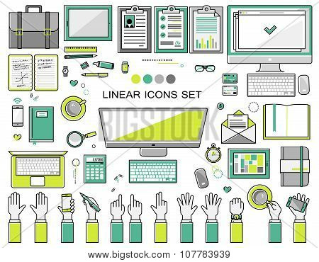 linear workplace icons collection, flat style  objects set of a top view.  Signs hand gestures. Work