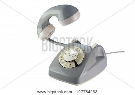 Gray Rotary Dial Phone With Flying Telephone Receiver Isolated On White