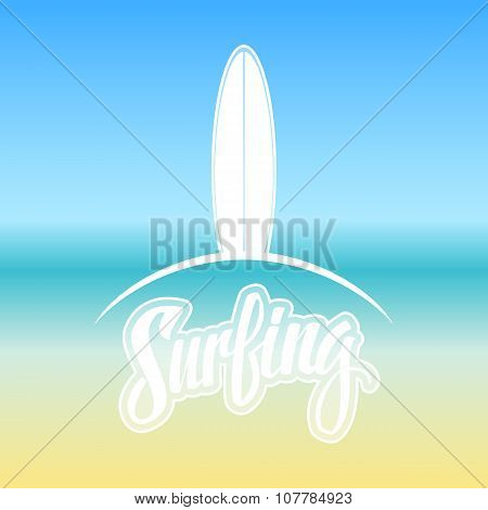 Surfing. Surf logo or emblem design. Handwritten word.