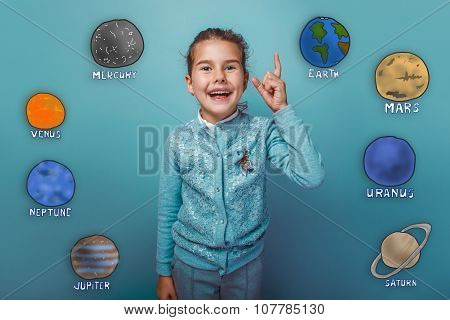 Teen girl shows up finger glad happy laughing planets of the sol