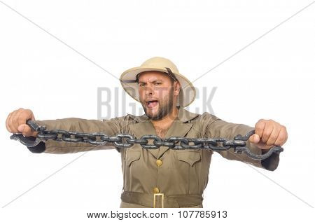 Man with chain isolated on white