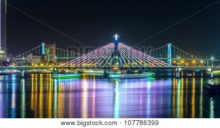 Han River Bridge and Thuan Phuoc bridge at night