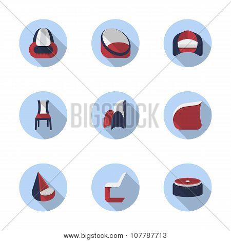 Stylish chairs flat color vector icons