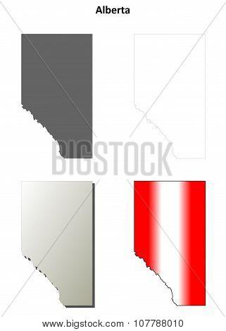 Alberta blank outline map set