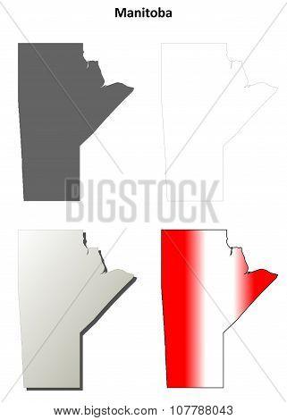 Manitoba blank outline map set