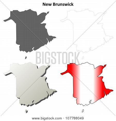 New Brunswick blank outline map set