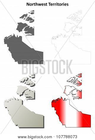 Northwest Territories blank outline map set