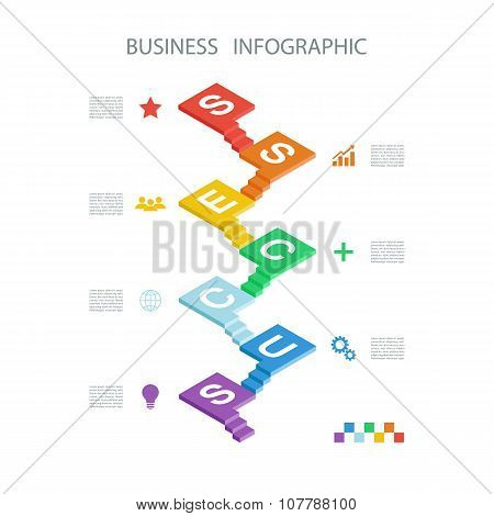 Business infographic. Ladders to success. Isometric design infographic concept.