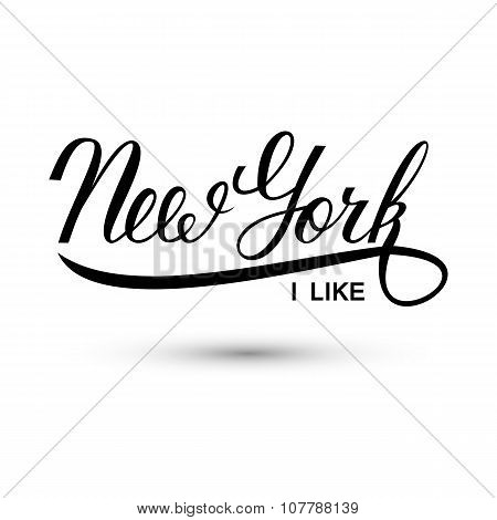 New York city handwritten logo. I like New York.