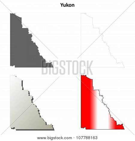 Yukon blank outline map set
