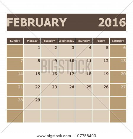 Calendar February 2016, Week Starts From Sunday