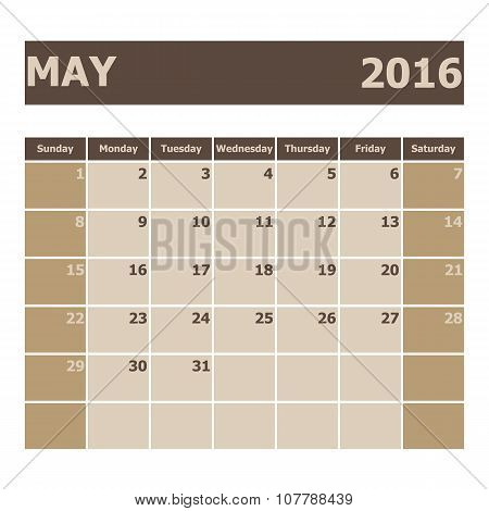 Calendar May 2016, Week Starts From Sunday