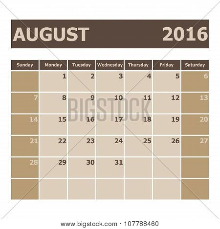 Calendar August 2016, Week Starts From Sunday