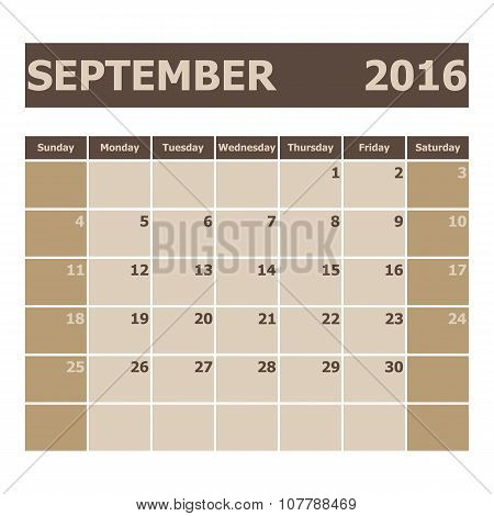 Calendar September 2016, Week Starts From Sunday