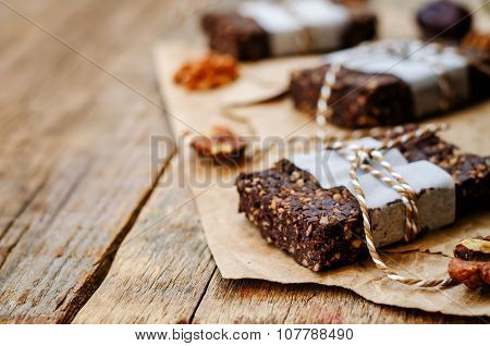 Raw Vegan Dates Coconut Walnut Chocolate Bars