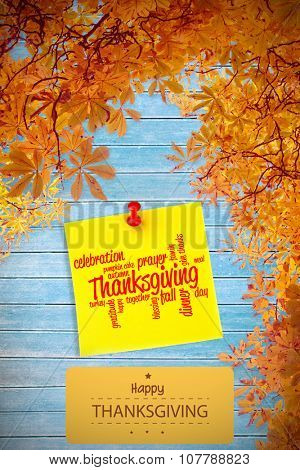 Happy thanksgiving against illustrative image of pushpin on yellow paper