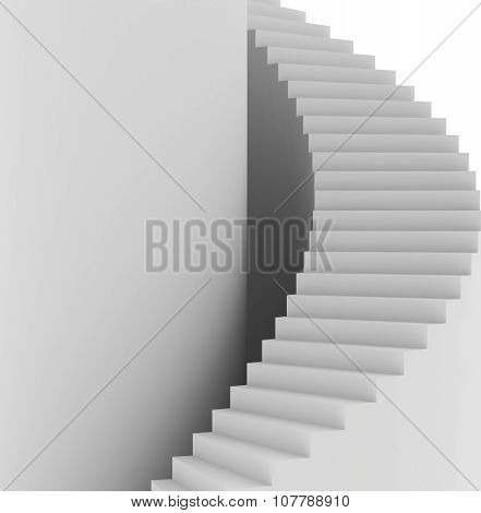 Spiral staircase. Top view. 3d render on white background