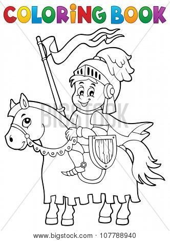 Coloring book knight on horse theme 1 - eps10 vector illustration.