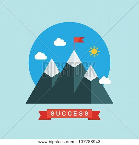 Flat design vector illustration of success and victory.