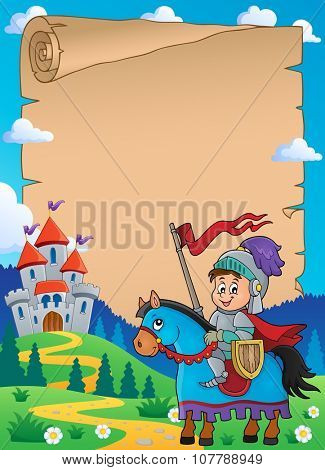 Parchment with knight on horse theme 1 - eps10 vector illustration.