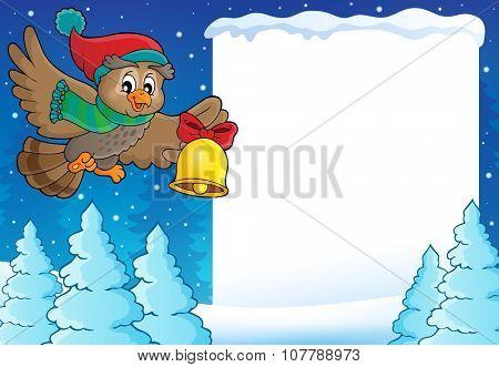 Christmas owl theme frame 1 - eps10 vector illustration.