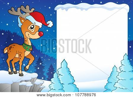 Snowy frame with Christmas reindeer - eps10 vector illustration.