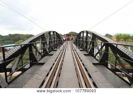 Train on The bridge of river kwai,Kanchanaburi, Thailand