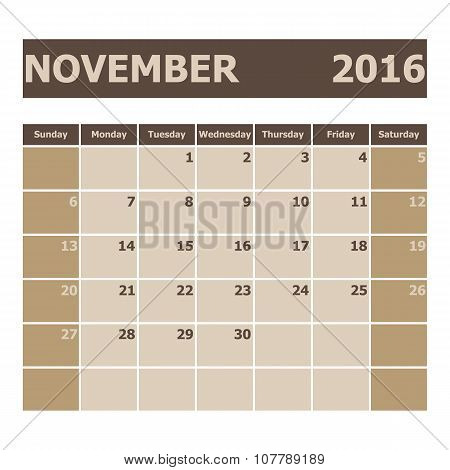 Calendar November 2016, Week Starts From Sunday