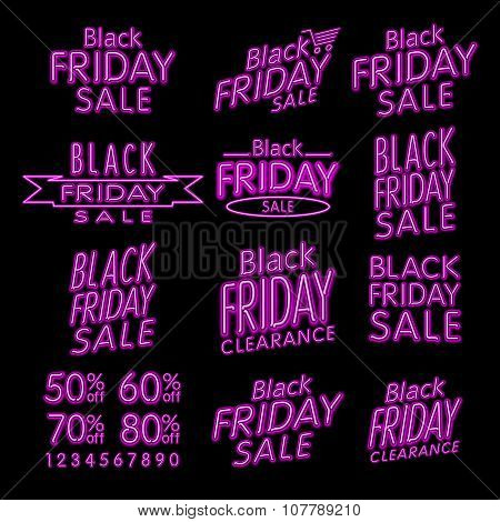 Black Friday Designs Neon | Retro Style Elements | Vintage Ornaments | Sale, Clearance | Vector Set