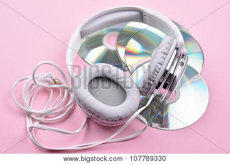 White Headphones and discs