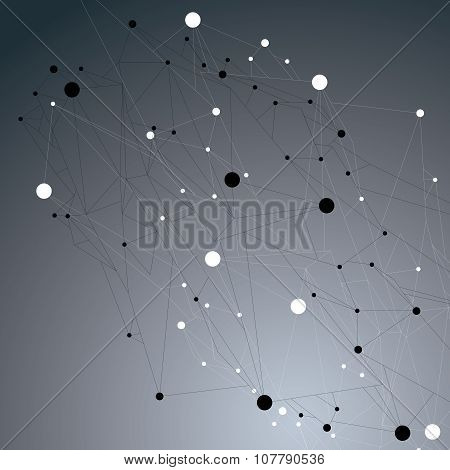 Complicated Abstract Grayscale 3D Shape, Vector Digital Lattice Object. Technology Theme.