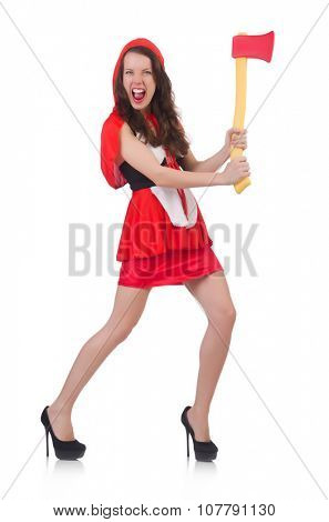 Funny woman with axe isolated on white