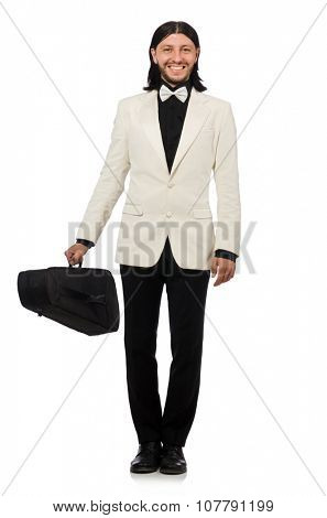 Man with violin case on whtie