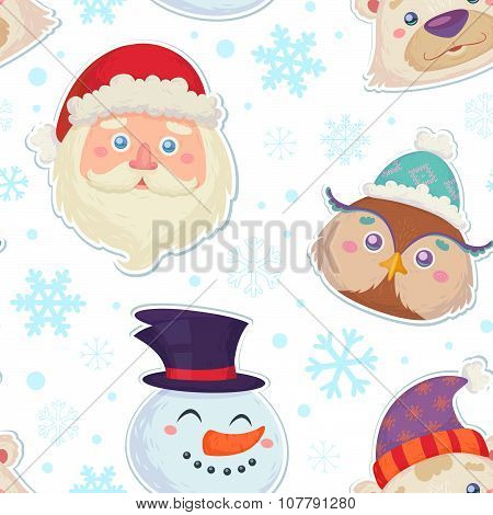 Cute Christmas Seamless Pattern With Characters